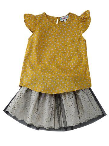 Popsicles Clothing | Popsicles Delion Skirt Set Yellow  White Regular Fit Dress For Girls