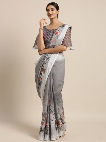 SATIMA | Grey & MultiLinen CottonFloral Print with zari